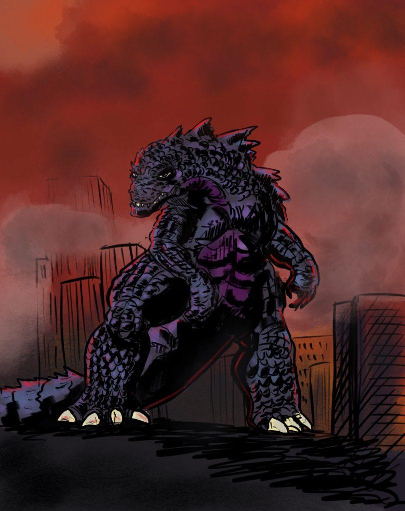 Fanart de Godzilla au milieu d'une ville en flammes